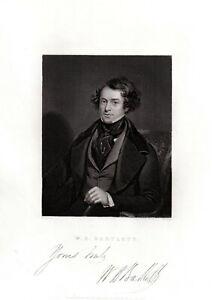 Self-portrait-of-W-H-Bartlett-Antique-print-of-1839