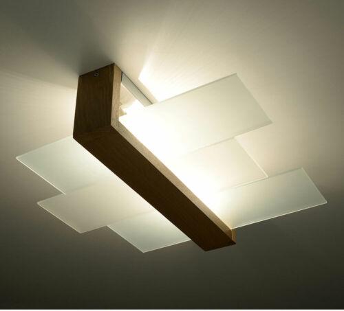 Decken Strahler Holz Leuchte natur Glas Lampe satiniert Küchen Flur Beleuchtung