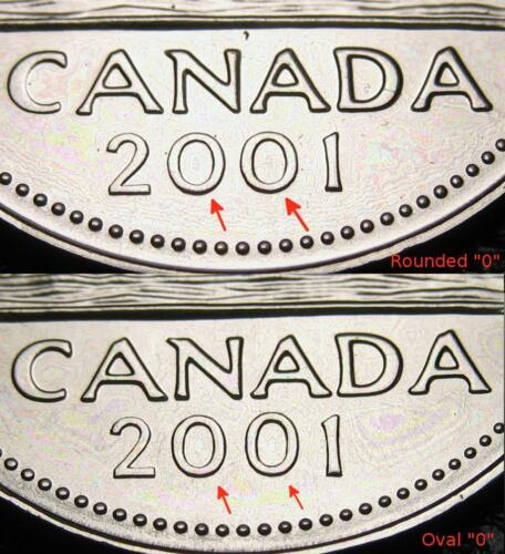 "Variety 5-cent RCM Uncirculated 2001-p Rounded /""0/"" Proof Like"