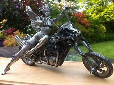 Harley Davidson Motorcycle Sculpture Statue Art Erotic Nude Figure Pewter
