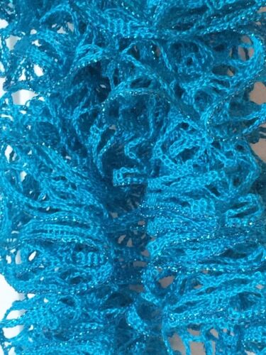 Turquoise Sparkle Handmade Crocheted Fashion Ruffle Scarf