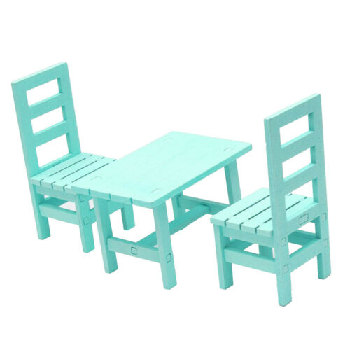 Miniature Wooden Oblong Table Chair Kits for 1//6 Dollhouse Accessories Green