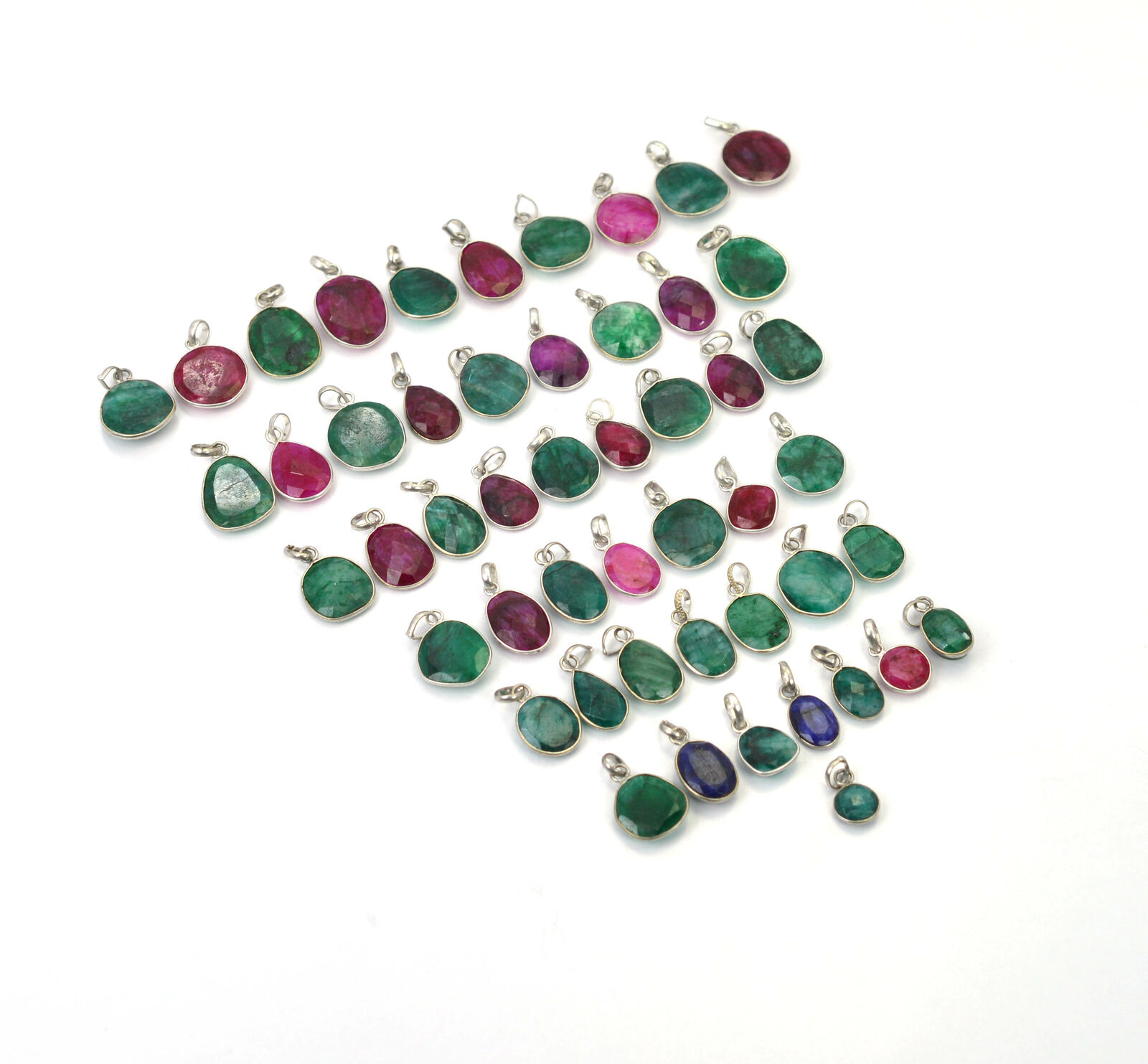 Wholesale 50Pc Silver Plated Faceted Red Ruby Mix Pendant Lot P5502