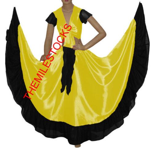 TMS GREEN//BLACK Designer Ruffle Skirt Top Belly Dance Costume Gypsy Flamenco