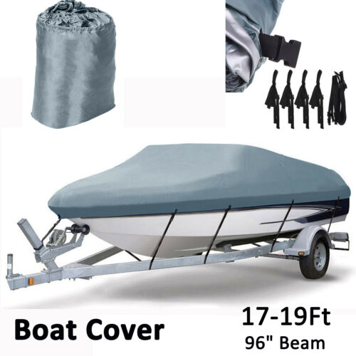 17 18 19ft Trailerable Boat Cover V-hull Fish Ski Bass Heavy Duty UV Waterproof