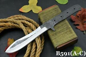 Custom Hammered Spring Steel 5160 Blank Bowie Hunting Knife,No Damascus (B591-A)