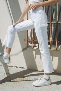 296c6a3627 Image is loading brandy-melville-white-straight-leg-cotton-cargo-Bennett-