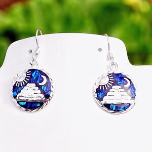 Artisan-Blue-Opal-Pyramid-Sun-and-Moon-Earrings-from-Taxco-Mexico