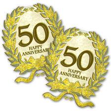 2 Happy 50th Gold Golden Anniversary Party Glitter Plastic Cutouts Decorations