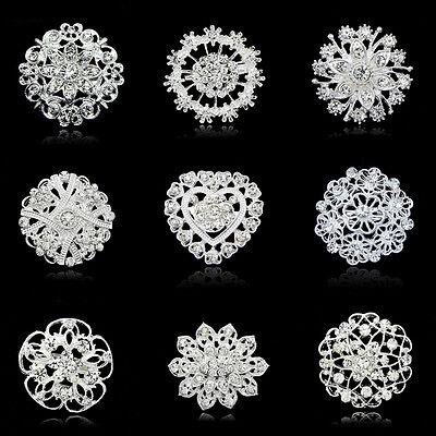 Vintage Style Rhinestone Crystal Wedding Bridal Bouquet Floral Flower Brooch Pin