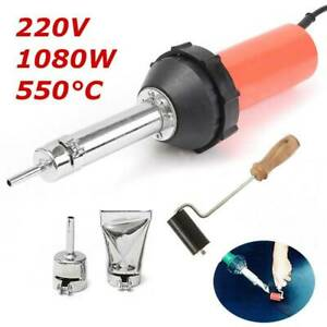1080W-Plastic-Hot-Air-Welding-Gun-Welder-Torch-2-x-Nozzles-Roller-Adapter