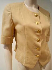 Vintage Sleeve Round Short Top Nude Sz Pierre Jacket Neck Balmain 7 Beige Blazer 5fnq50wO