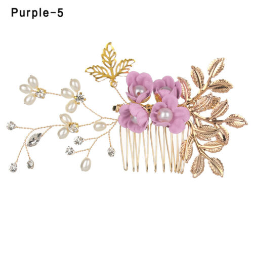 Crystal Crown Wedding Leaves Tiara Hair Combs Bridal Clips Flower Hair Pin