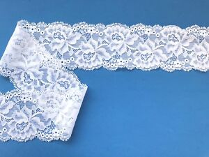 Laces-Galore-White-Stretch-Lace-Soft-Scalloped-2-25-034-6-cm-Trim-Craft-Lingerie