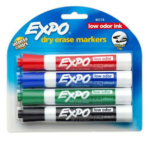 4-New-Color-Dry-Erase-Markers-with-Chisel-Tips-Low-Odor-Ink-FREE-Shipping