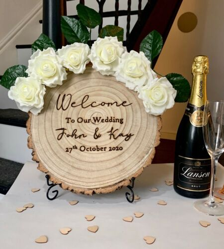Personalised Welcome Wedding Party Sign Tree Slice Any Text Rose Crown Stand