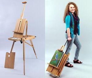 Rolling mobile wooden french sketchbox art artist easel for Mobili wooden art