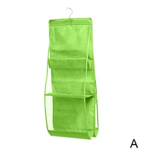 6 Pockets Hanging Closet Organizer Foldable Handbag Bag newmc Storage Bags J1I7