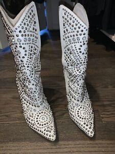 Jeffrey-campbell-White-Embellished-Cowboy-Boots-Size-8