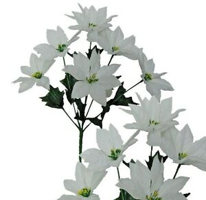 Lot of 24 White Poinsettia Bushes Christmas Decoration Artificial Flower Home