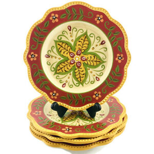 PIER-1-IMPORTS-Hand-Painted-Earthenware-JULIANA-Red-Floral-Salad-Plates-Set-4
