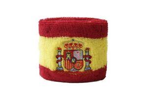 Schweisband-drapeau-drapeau-ESPAGNE-AVEC-BLASON-2er-set-7x8cm-Bracelet-de-sport