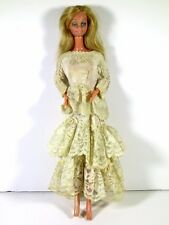 DRESSED BARBIE DOLL IN LACE WEDDING GOWN
