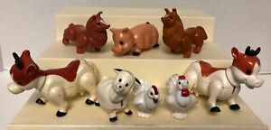 1980s-Lil-Playmates-FARM-ANIMALS-Lot-Cows-PIG-Chickens-LAMB-Dogs-Vintage-Playset