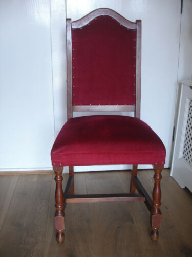Vintage Style Wood Dining Chair Upholstered Red Velour with Metal Studs