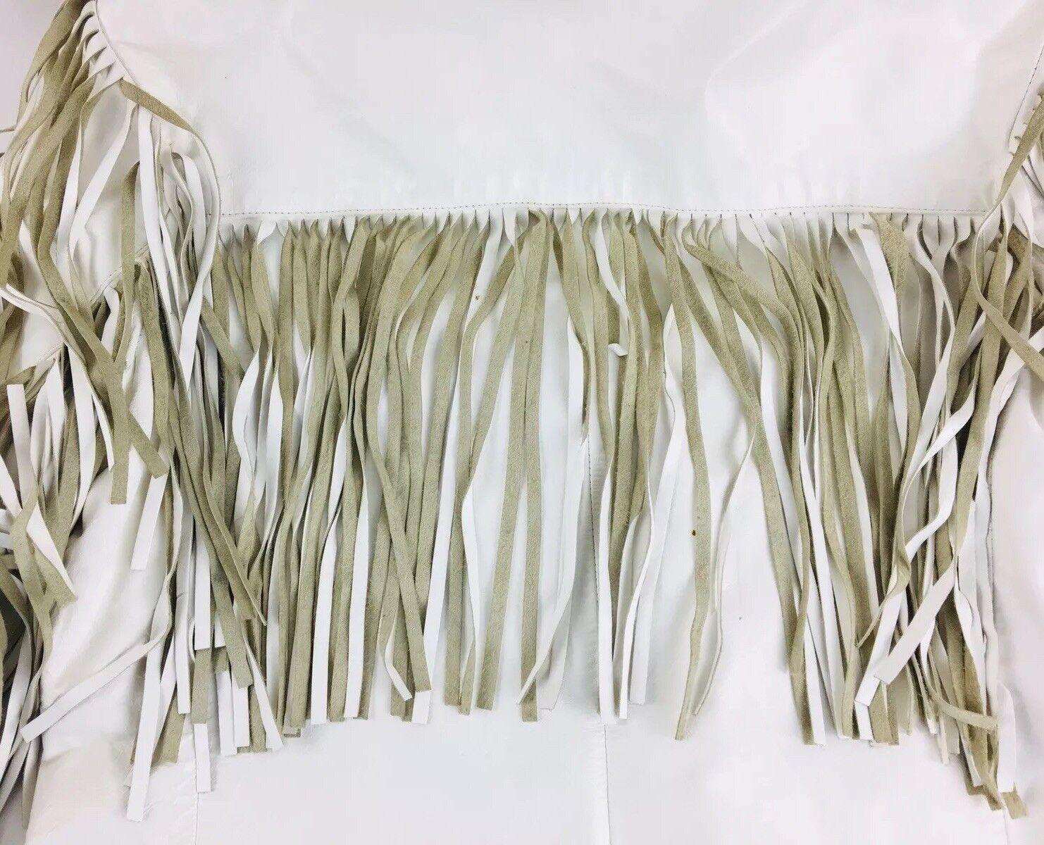 Vintage White Leather Jacket Vakko Leather Fringe… - image 6