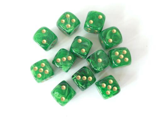 Green Gold Chessex GAMING SUPPLY BRAND NEW Vortex 12 Die Set D6 16mm