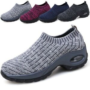 Women-039-s-Thick-Air-Cushion-Sneakers-Breathable-Mesh-Walking-Slip-On-Running-Shoes
