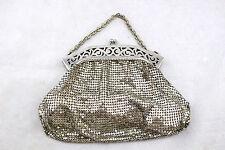 WHITING & DAVIS Vintage Silver Mesh Metal Filigree Baguette Clutch Kisslock Bag