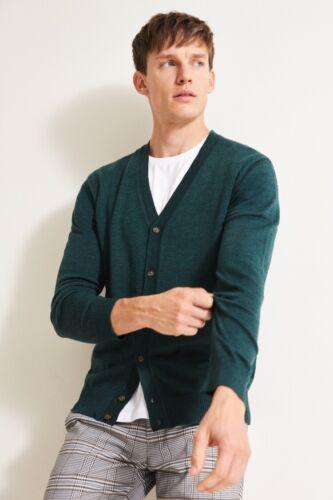 Moss 1851 Forest Green Merino Cardigan Mens Knitwear Merino Wool Casual Top