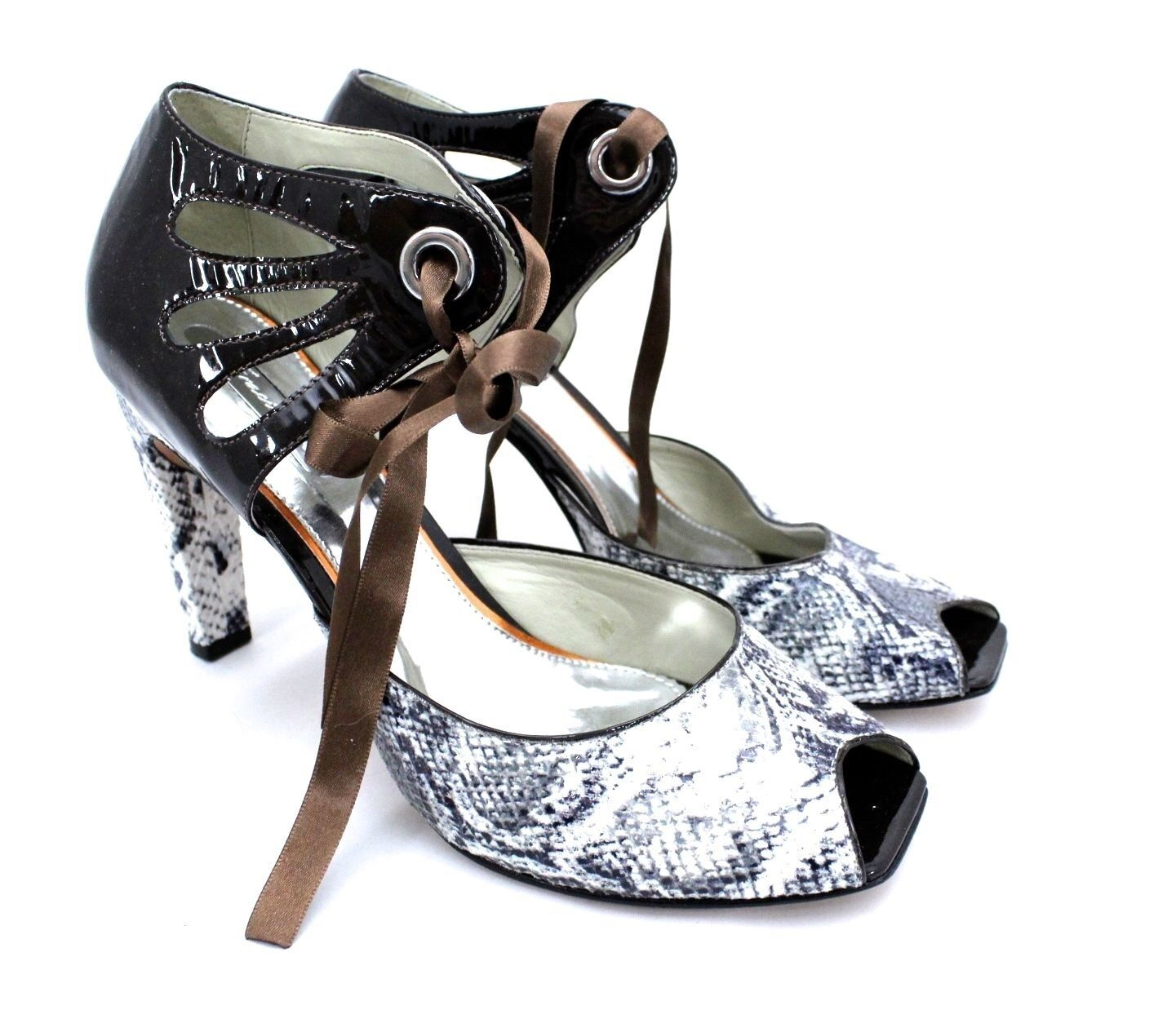 vendita outlet Gracienne Pump Stiletto Heels Mary Jane Marrone Pat Pat Pat Leather Snake  Peep Toe 11 NEW  miglior servizio