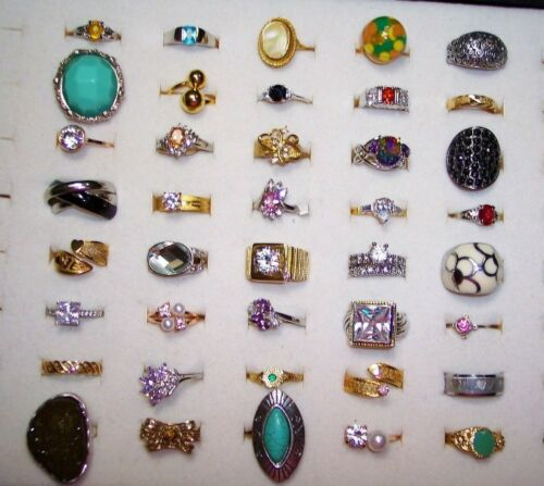 Cocktail/Costume RINGS Lot Vintage/Mod Lots of Rhi