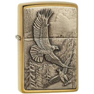 Zippo-Brushed-Brass-Where-the-Eagle-Dare-Emblem-Pocket-Lighter