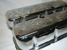BBC Chevy 454 396 427 502  Chrome Valve Covers Big Block Tall cool Flamed
