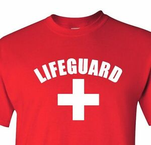 Image is loading Lifeguard-T-shirt-Red-Gray-White-Tee-YMCA-  sc 1 st  eBay & Lifeguard T-shirt Red Gray White Tee YMCA Pool Staff Lifesaver ...