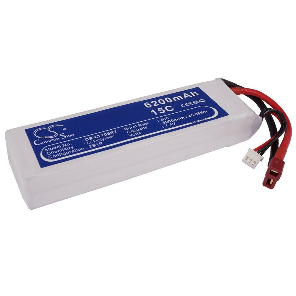 BATTERIA Li-polimero per varie modelli RC - 6200 mAh/7.4v T-Spina jst-xhr-3p