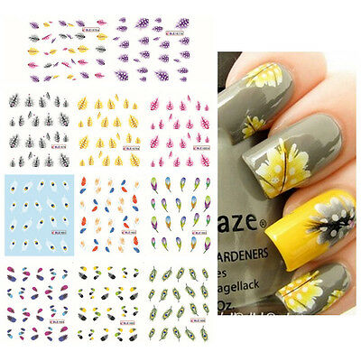 Hot New Charming Feather 3D Nail Art Water Decal Sticker Tips Decoration