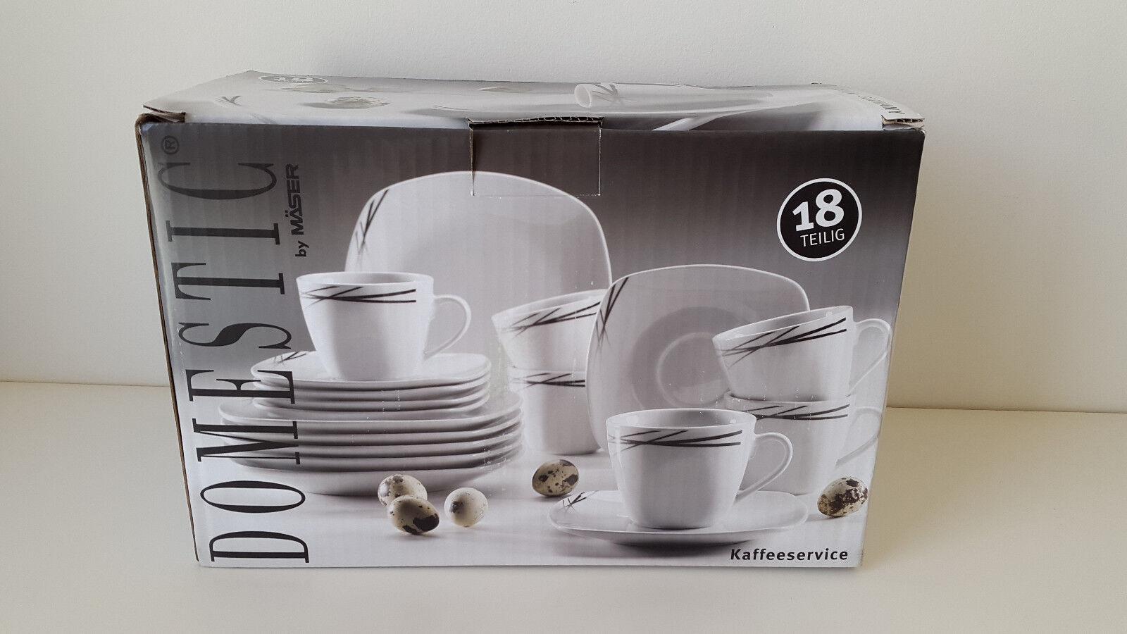 Domestic by Mäser Kaffeeservice für 6 Personen, weiß schwarz 18-teilig NEU & OVP   In hohem Grade geschätzt und weit vertrautes herein und heraus