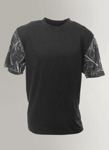 CLEARANCE Mens Black T-Shirt w// Camo SleevesBlue Red Green Orange Gray