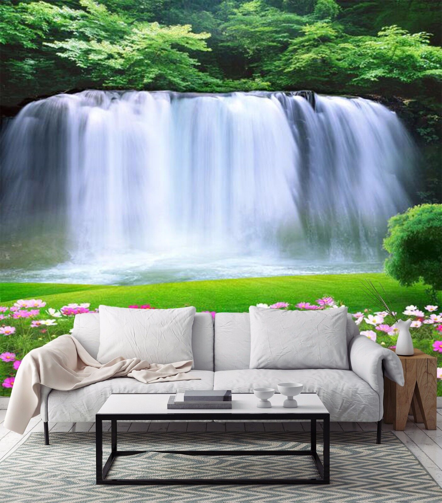 3D waterfall green flower Wall Paper Print Decal Wall Deco Indoor wall Mural