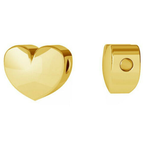 Sterling Silver Heart Charm 7mm 3D Heart Pendant 24K Gold Plated Rose Gold