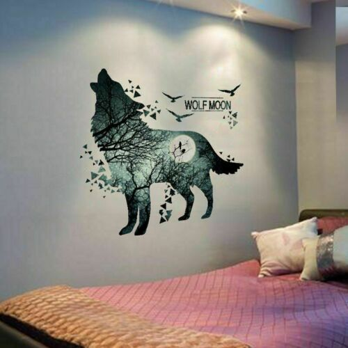 Wall Decal Wolf Moon Sticker Decor Art Room Howling Wolf Home Free Shipping New