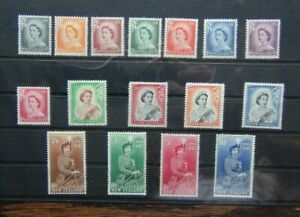 New-Zealand-1953-59-set-to-10s-MM-2-6-to-10s-values-MNH-SG723-SG736