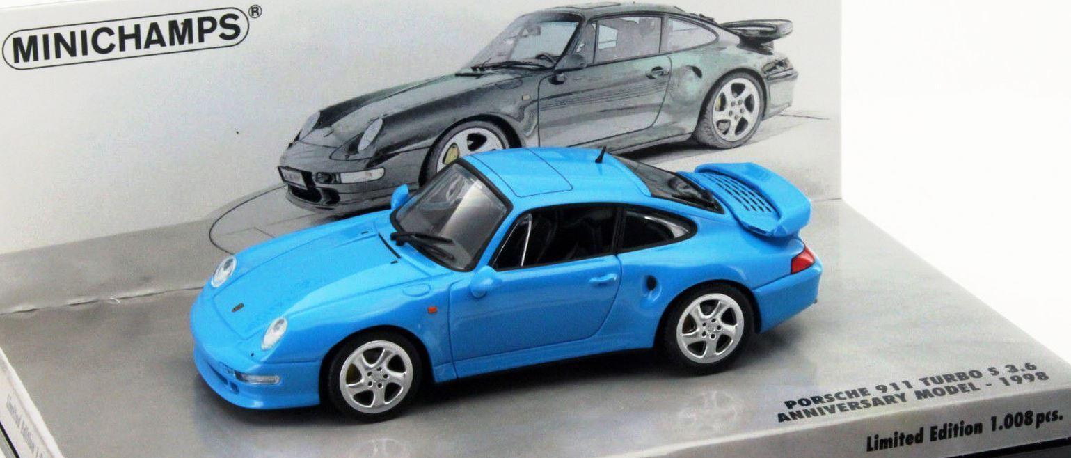 RARE MINICHAMPS PORSCHE 911 993 TURBO S Bleu 1 43 1 de 1008 sold out 436069171