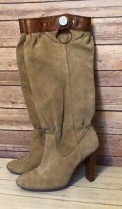 Michael-Kors-Brown-Suede-Pull-On-Side-Zip-Knee-High-Slouch-Heel-Boots-Womens-8-5