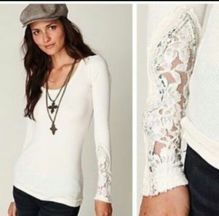 FREE PEOPLE  CRAFTY LACE CUFF THERMAL TOP IN IVORY Größe SMALL  BEAUTIFUL
